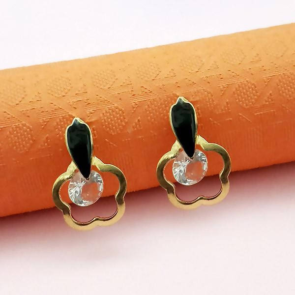 Gold Plated Pink Meenakari Austrian Stone Stud Earrings