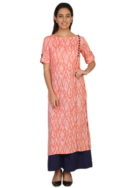 Vaniya Women Rayon Kurta Orange Straight Kurti $ VN-K145