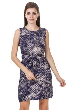 Fashians Navy Printed  sleeveless dress $ FS-1700003