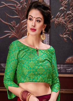 Manvi Fashion Green Color Border Piping Work Broket in Fabric Party Wear Readymade Blouse $ MF 3101