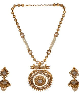 Aradhya Metal Jewel Set (Gold, White)