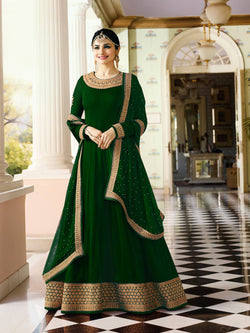 YOYO Fashion Latest Fancy Semi-stitched Faux Georgette Embroidered Anarkali Salwar Suit $F1216-Green