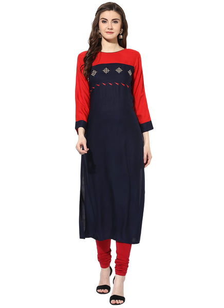 Mytri Women's Red & Navy Rayon Embroidered Straight Kurta $ 9000484-REDNAVY
