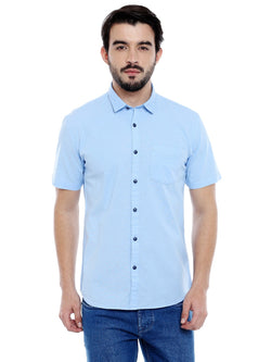 Roller Fashions Men's Solid Casual Light Blue Shirt $ C3SRLB-P