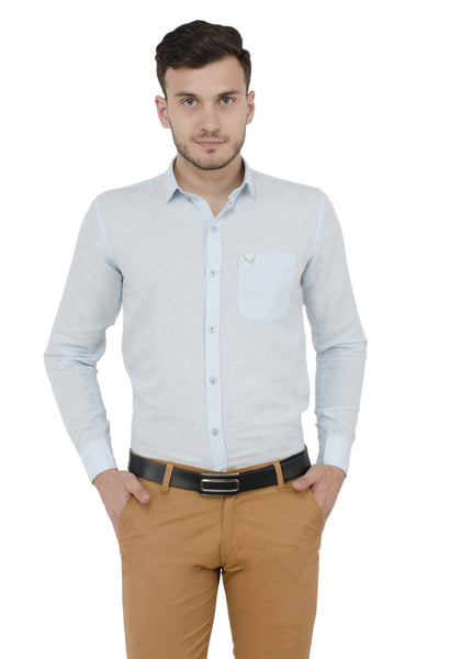 Baluchi Solid Regular Full Sleeve Linnen Blue Formal Shirt $ BLC_MNSHIRT_06