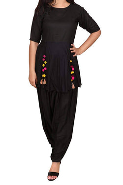 Libas Closet Traditional Dress for Women's Rayon Black Kurta Salwar Dress with Tassels, Party Wear Suits for women, Party wear Salwar Kamiz Dress $ Libas Closet-035
