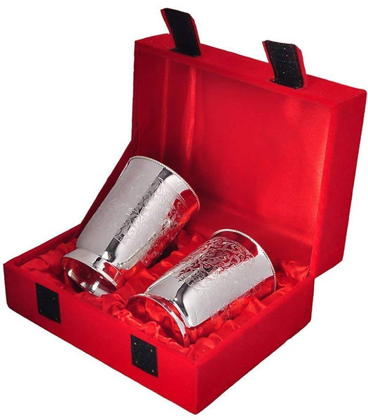 German Silver Glass (Set of 2 Pieces) with Tray and Beautiful Velvet Box Packing Exclusive Gift for Diwali Gift Items and Wedding Gift Items $ IGSPBR101039