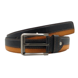 Baluchi Black and Tan Fine Textured Semi Formal Men's Belt $ BLC_PMBT_11