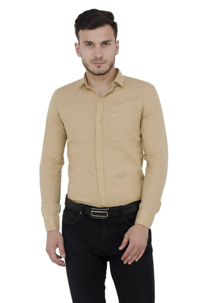 Baluchi Solid Regular Full Sleeve Linnen Beige Formal Shirt $ BLC_MNSHIRT_13