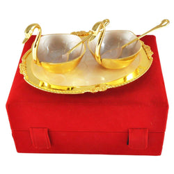 International Gift Gold Plated Brass Duck Bowl (5 Pcs Set, Gold) with Velvet Box Packing Exclusive Gift Items for Diwali Gift, Wedding Gift and Corporate Gift $ IGSPBR1065