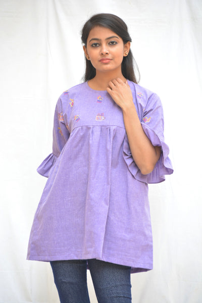 Mauve Khadi Cotton Cactus Top with Flared sleeves $ IWK-000701