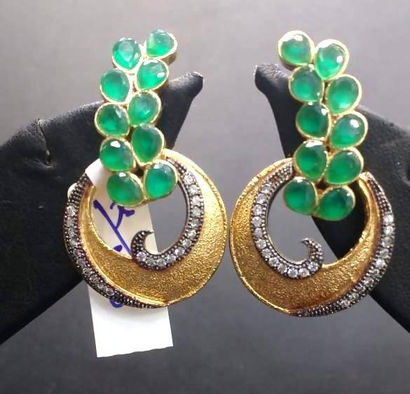 Gaurik Designer earring adorned with white and green color stone $ Earrings No. 01
