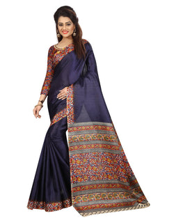 Muta Fashions Women's Unstitched Khadi Silk Navy Blue Saree $ MUTA1359