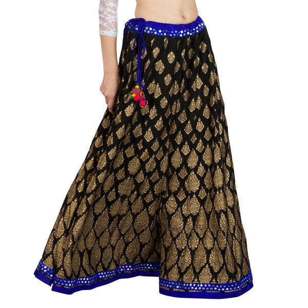 La Vastraa's Cotton Gold Printed Black Skirt-LS028