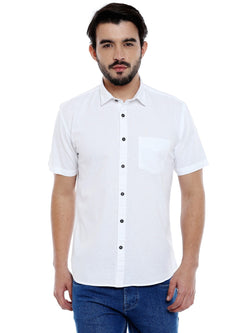 Roller Fashions Men's Solid Casual White Shirt $ C3SR0W-P