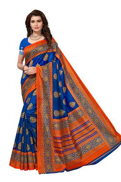 16TO60TRENDZ Blue Color Printed Bhagalpuri Silk Saree $ SVT00485