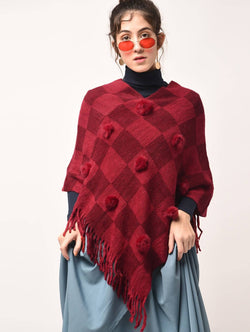 Aiyra Red Color wollen pom pom checkered fringed poncho $ AR15800345_free size