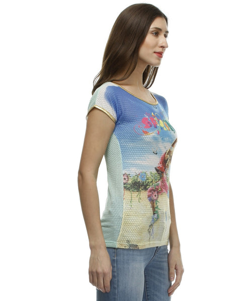 Glam a gal multicolor s/s top