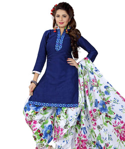Minu Suits Blue Cotton Salwar Suits Sets Dress Material Freesize,Satinpatyala_6010