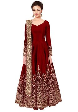 Manvi Fashion Women's Red Color Tafetta Silk Fabric Zari Embroidery Work Gown $ MF 2423