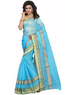 Muta Fashions Women's Unstitched Cotton Net Blue Saree $ MUTA1584