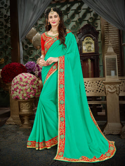 Fashion Zonez Zari Embroidered with lace border Georgette Turquoise Designer Saree With Blouse $FZ 1992