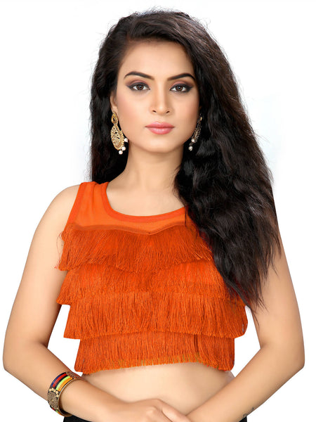 YOYO Fashion Orange Silk Solid Blouse & YO-BL4010-Orange