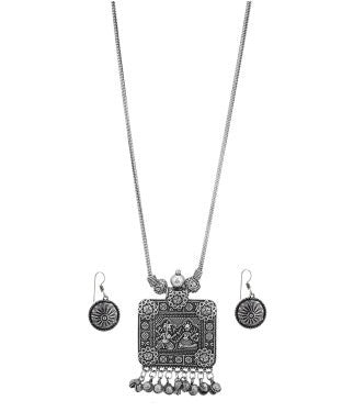 Aradhya Brass, Metal Jewel Set (Silver, Black)