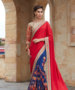 Red Banglori And Georgrette Embroidery Saree with Blouse