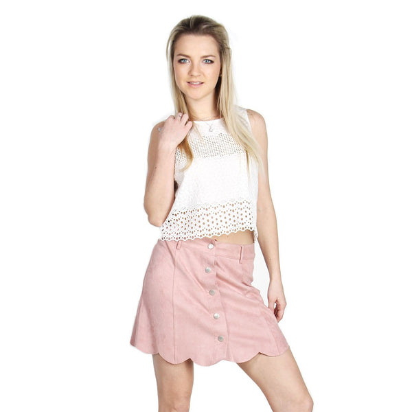 London Rag Women's Pink Suede Skirt-CL7061
