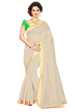 16to60trendz Beige Chanderi Lace Work Chanderi Saree $ SVT00054