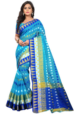 YOYO Fashion Polyester Pink Embroidered Saree With Blouse $ YOYO-SARI2633-Blue