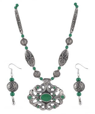 Aradhya Metal Jewel Set (Silver, Green)