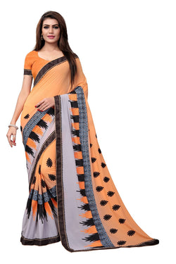 YOYO Fashion Embroidered Georgette Orange Saree With Blouse $ SARI2615-Orange