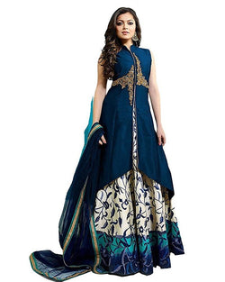 Muta Fashions Women's Semi Stitched Taffeta Silk Light Blue Lehenga $ LEHENGA106