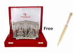 Silver Plated Ganesh Laxmi God Idol with Beautiful Velvet Box Packing (18 cm, Silver) Gold Plated Ball Pen Amount - 250 Rs Free Gift Inside This Box Limited Stock Available $ GSI-162