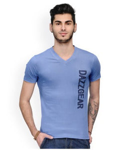 Dazzgear Men's Blue V Neck MTV-66 T-Shirt
