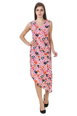 Fashians Florals Print Sleeveless Pink Dress $ FS-1700009