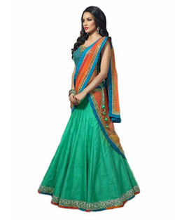 Muta Fashions Women's Semi Stitched Banglori Silk Sea Green Lehenga $ LEHENGA18
