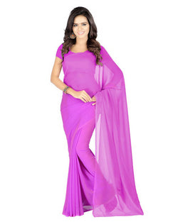 Muta Fashions Women's Unstitched Georgette Pink Saree $ MUTA210