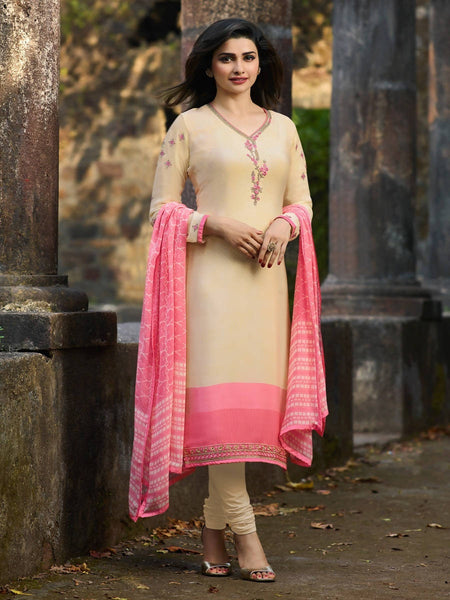 YOYO Fashion Beige Crepe Straight Semi-Stitched Salwar Suit With Dupatta $ F1291