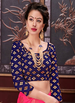 Manvi Fashion Blue Color Border Piping Work Broket in Fabric Party Wear Readymade Blouse $ MF 3102