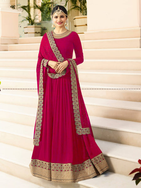 YOYO Fashion  Latest Fancy Semi-stitched Faux Georgette Embroidered Anarkali Salwar Suit $F1215-Pink