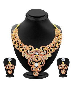 Sukkhi Glamorous Gold Plated AD Necklace Set For Women