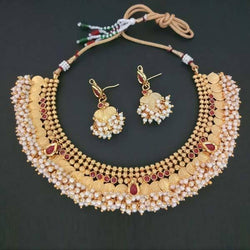 Tanishka Fashions Stone Copper Pearl Temple Coin Necklace Set