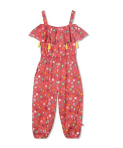 Budding Bees Girls Orange Printed Long Jumpsuit
