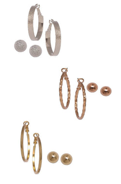 Metal Magic Hoops and Studs Set  - JIAFEAR5990