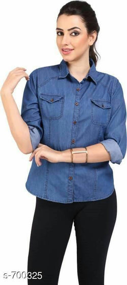 Gaurik Trendy Solid Denim Shirt $ Design No. 13