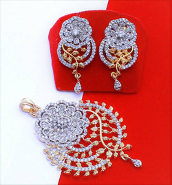 Ankita Fashion Gold Plated American Diamond AD Broad Round Pandadi pendant set $ AF78861247