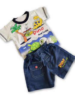 Boys White Printed Tshirt & Denim shorts Set $ CP_SC015